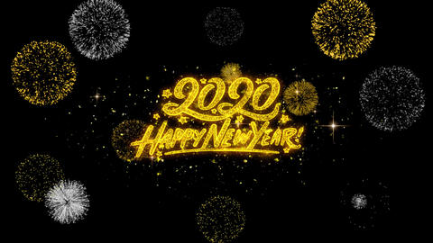 Happy New Year 2020 Golden Text Blinking Particles with Golden Fireworks Display Footage