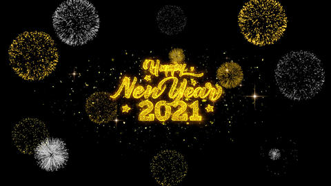 2021 Happy New Year Golden Text Blinking Particles with Golden Fireworks Display Footage