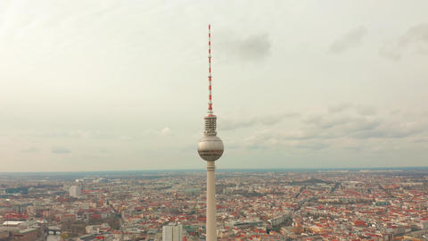 BERLIN, GERMANY - MARCH 28, 2019. Panoramic view of Berlin with TV tower, one of Footage