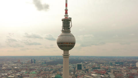 BERLIN, GERMANY - MARCH 28, 2019. Berlin TV Tower super closeup during a cloudy Footage