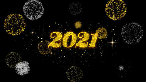 Happy New Year 2021 Golden Text Blinking Particles with Golden Fireworks Display Footage