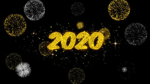 2020 Happy New Year Golden Text Blinking Particles with Golden Fireworks Display Live Action