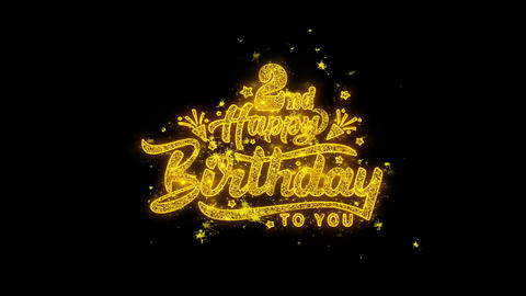 2nd Happy Birthday Typography Written with Golden Particles Sparks Fireworks Live Action