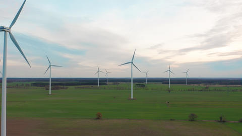 Windmill Wind power technology - Aerial drone view on… Stock Video Footage