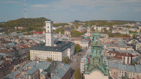 Aerial City Lviv, Ukraine. European City. Popular areas of the city. Town Hall Footage