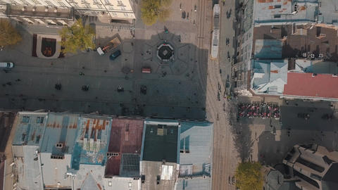 Aerial City Lviv, Ukraine. European City. Central part of old city. Town Hall Footage