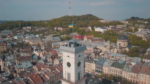 Aerial City Lviv, Ukraine. European City. Popular areas of the city. Town Hall Footage