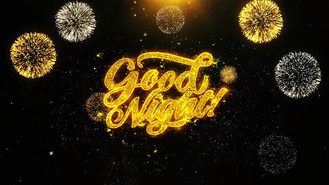 Good Night Wishes Greetings card, Invitation, Celebration Firework Looped Footage