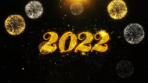 Happy New Year 2022 Wishes Greetings card, Invitation, Celebration Firework Live Action
