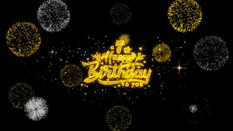 7th Happy Birthday Golden Text Blinking Particles with Golden Fireworks Display Live Action