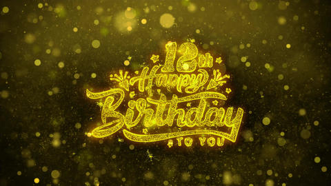 12th Happy Birthday Wishes Greetings card, Invitation, Celebration Firework Live Action