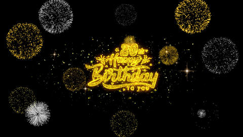 20th Happy Birthday Golden Text Blinking Particles with Golden Fireworks Display Live Action
