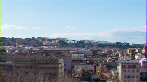 Glitch effect. Panorama of Rome, view from the Giardino degli Aranci. Italy. Time Lapse Archivo