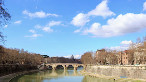 Glitch effect. Ponte Sisto, Zoom. Rome, Italy. Time Lapse Live Action