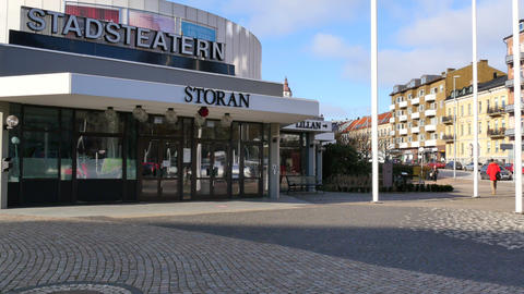The city theater in Helsingborg - situated close to the... Stock Video Footage