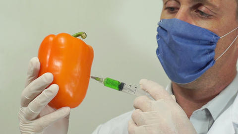 Scientist Injecting Orange Pepper Footage
