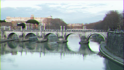 Glitch effect. Ponte Sant'Angelo. Sunset. River Tibr. Rome, Italy. Time Lapse Live Action