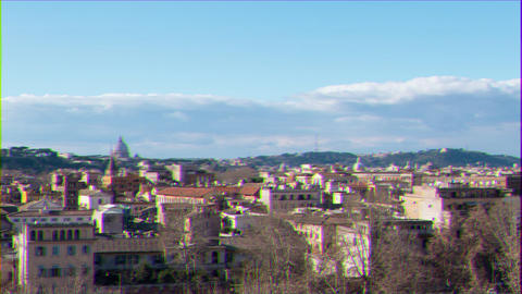 Glitch effect. Panorama of Rome, view from the Giardino degli Aranci. Italy. Time Lapse Live Action