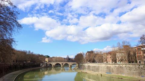 Glitch effect. Ponte Sisto. Rome, Italy. Time Lapse Footage