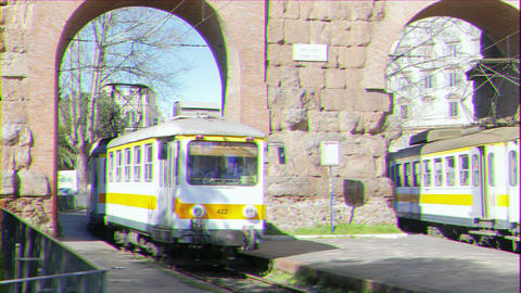 Glitch effect. Yellow tram in Rome. Italy Footage