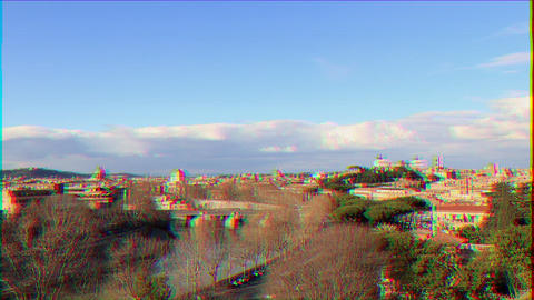 Glitch effect. View from the Giardino degli Aranci. Zoom. Rome, Italy. Time Lapse Live Action