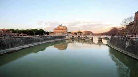 Glitch effect. Fortress of San Angelo, Rome, Italy. TimeLapse Live Action