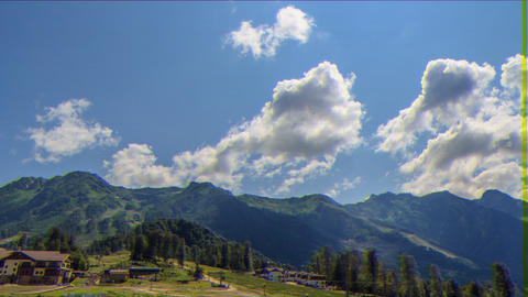 Glitch effect. Rosa Khutor Plateau. HDR, Sochi, Russia. Time Lapse Live Action