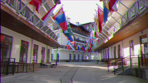 Glitch effect. Flags of countries in the Olympic Village. Russia, Sochi Footage