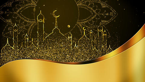 Ramadan with golden particles mosque background looped Stock Video Footage