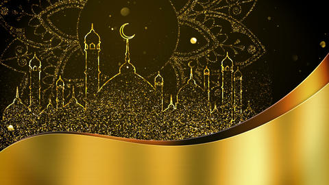 Ramadan with golden particles mosque background looped Animation