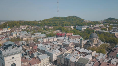 Aerial City Lviv, Ukraine. European City. Popular areas of the city. Dominican Live Action