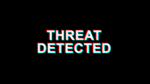 Threat Detected Glitch Effect Text Digital TV Distortion 4K Loop Animation Live Action