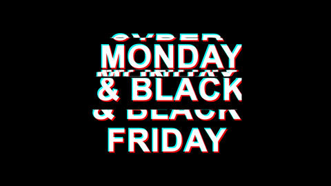Cyber Monday and black friday Glitch Effect Text Digital TV Distortion 4K Loop Live Action