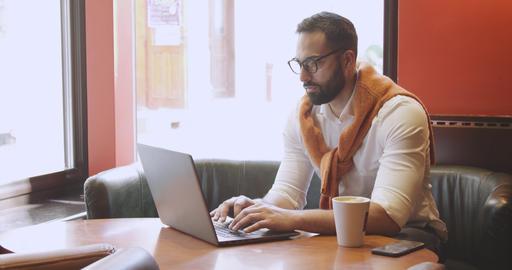 Adult Entrepreneur in Cafe Footage