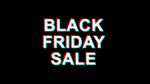 black friday Sale Glitch Effect Text Digital TV Distortion 4K Loop Animation Live Action