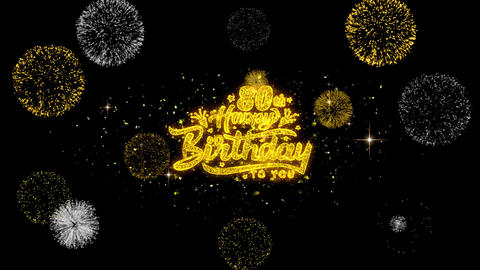 80th Happy Birthday Golden Text Blinking Particles with Golden Fireworks Display Live Action