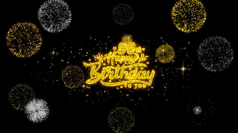 90th Happy Birthday Golden Text Blinking Particles with Golden Fireworks Display Live Action