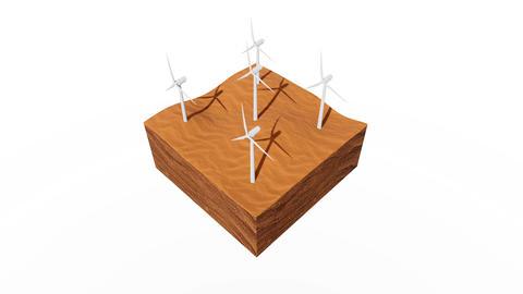 Wind turbines on desert dunes abstract 3D animation Animation