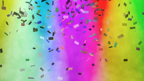 Multicolored confetti falling against stage lights Animation
