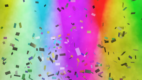 Multicolored confetti falling against stage lights Stock Video Footage