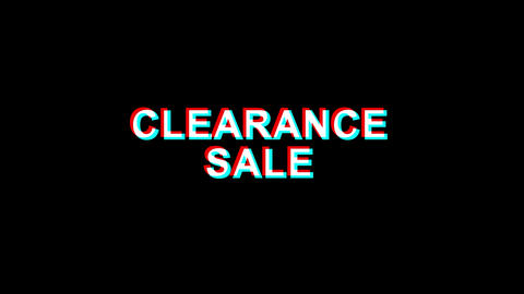 Clearance Sale Glitch Effect Text Digital TV Distortion 4K Loop Animation Live Action