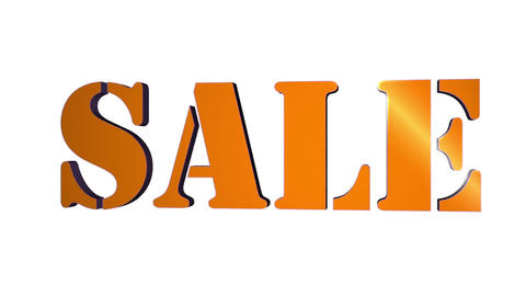 Sale 3D Text Title. 3D Text Rotating Letters Sale. Inscription For Motion Posters Banners.