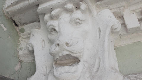 Fascinating old white statue of animal head which looks like lion Footage