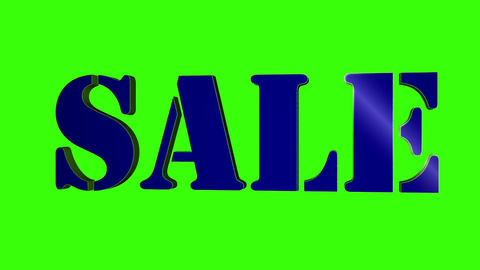 Sale 3D Text Title. 3D Text Rotating Letters Sale. Inscription For Motion Posters Banners. 2