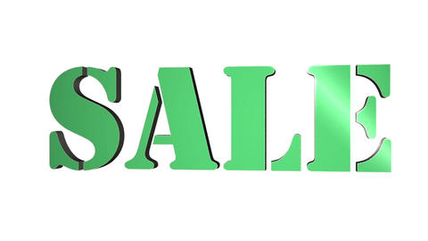 Sale 3D text title. 3D text rotating letters Sale. Inscription for motion posters, banners. Animation