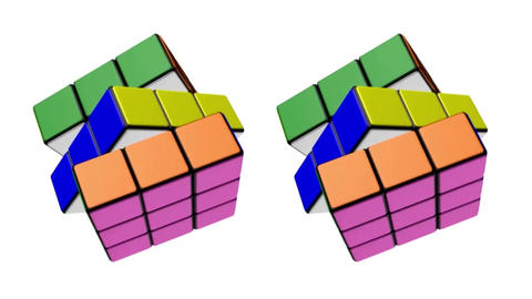 The Transformation Of The Rubik's Cube With Animation And Rotation. Animated Rubik's Cube. Rubik 0