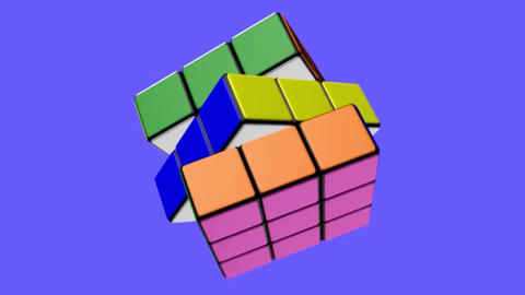 The Transformation Of The Rubik's Cube With Animation And Rotation. Animated Rubik's Cube. Rubik 2
