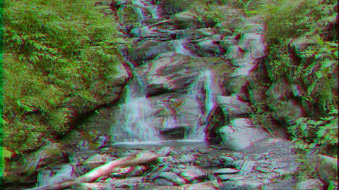 Glitch effect. Waterfall on the trail of health Rosa Khutor. Sochi, Russia Live Action