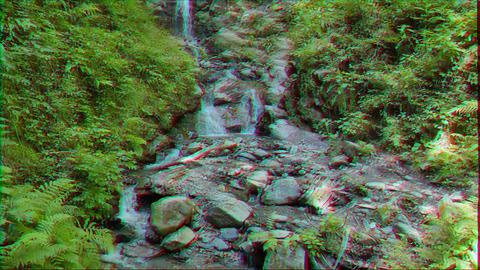 Glitch effect. Waterfall on the trail of health Rosa Khutor. Sochi, Russia Footage