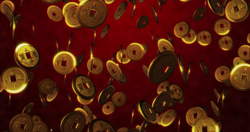 Golden Chinese coins on red background. 3D rendering Animation